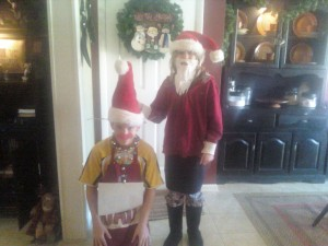 My Christmas Welcome Wagon......Santa and Rudolph (they are such idiots!)