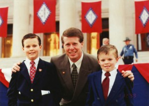 Jim Bob on the campaign trail in 1999 with his two oldest sons, Josh and John David Duggar.  They will both go on to involve themselves in politics.