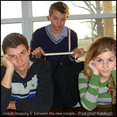 Josiah Duggar hammin' it up with Erin Bates and Chad Paine.