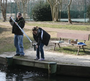 D.J. and Casey retrieving pond water for a Biology experiment.  They are such goofballs, but I sure do love em'!