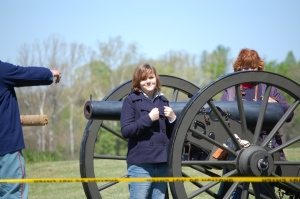 Casey at Saylers Creek in Virgina back in March 2012.  She got to load the cannon in a Civil War Reenactment while we were there studying American History.