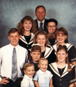 Anna Keller and her family, starting from the top:  Mike (aka Dad Keller), 2nd row from left is Esther and Suzette (Mom), 3rd row from left is Daniel, Priscilla and Rebekah, 4th row from left is Susanna and Anna, and 5th row from left is Nathan and David.
