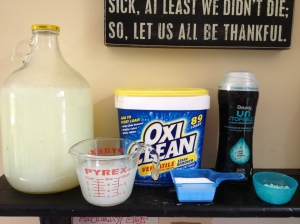 22.  Use (1) cup of homemade laundry soap in each large load of clothes. I also use 1/2 scoop of Oxy Clean powder, and 1/4 cup of smell booster from Downy or Gain.  We like the way the Oxy gets out grease stains, and the smell of the booster.