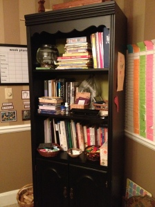 All of the resources that the children need are located in our dining room/homeschool room.  We used to have a homeschool room, but we like being in the center of the house better.