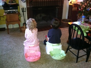 Our two foster cuties during dual-potty training sessions last Christmas......whew that was fun!