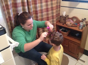 Blue Eyes getting a 'Crazy Hairdo' for Kindergarten
