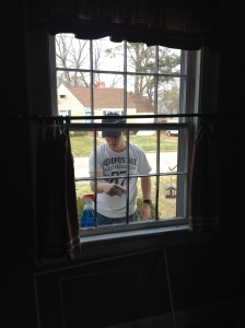 DJ helped me clean all of the windows on the outside.  It is so great having a young whippersnapper to help with the ladder work!